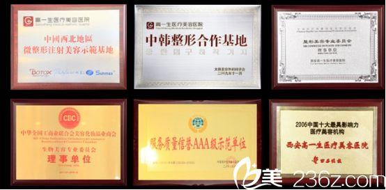 西安高一生美容整形医院品牌荣誉