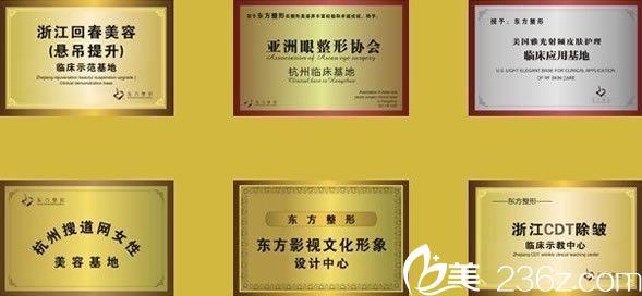 杭州东方整形荣誉证书