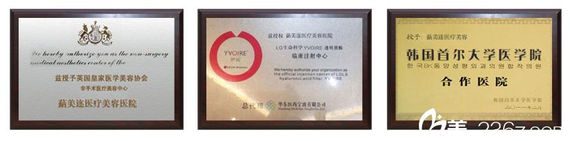 深圳蒳美迩医疗美容门诊部荣誉证书