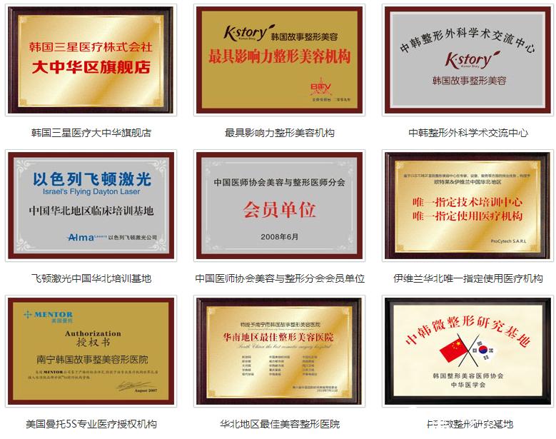 南宁韩成(韩国)故事医疗整形美容医院荣誉证书