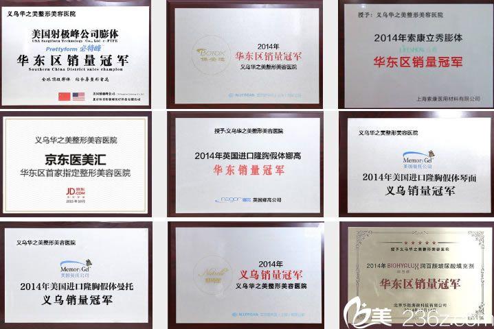 荣誉资质证书_义乌华之美医院