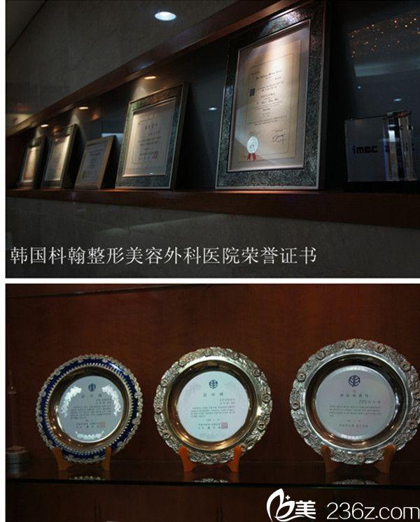韩国枓翰整形外科医院荣誉