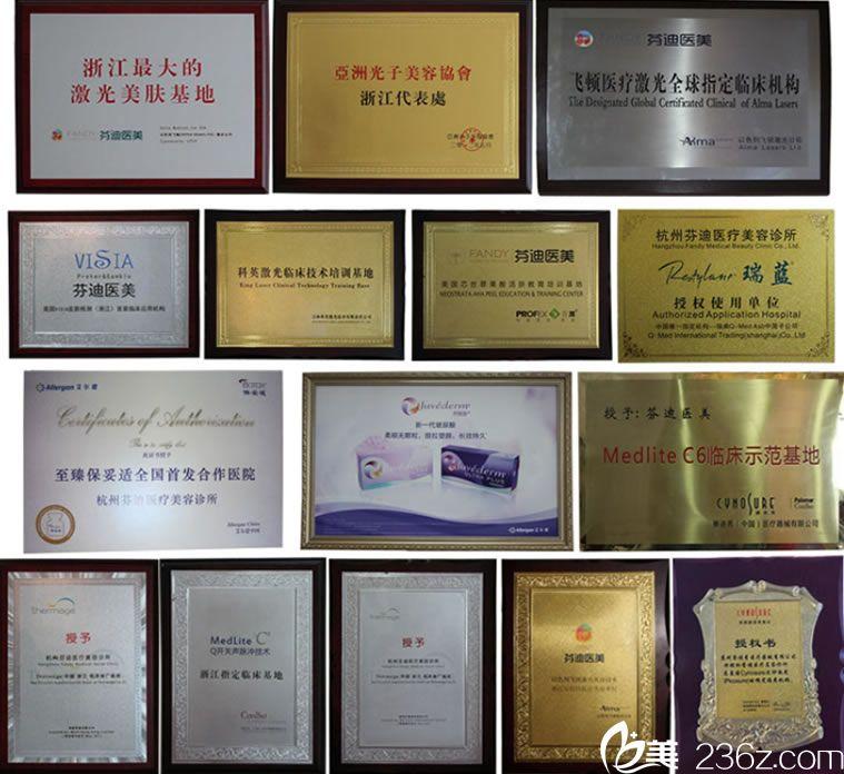 杭州芬迪医美荣誉证书
