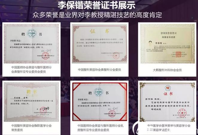 天津美莱李保锴教授所获荣誉