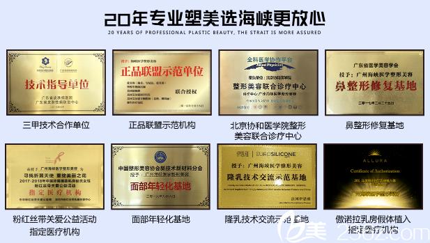 广州海峡整形医院荣誉证书