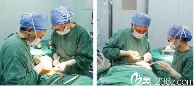 吴国平院长鼻修复手术中