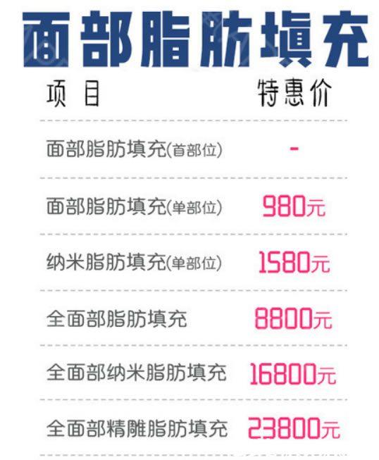 杭州西芷整形医院自体脂肪填充面部价格是多少钱?2018全新价格表全脸填充8800元