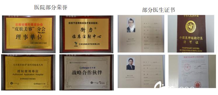 昆明韩辰整形医院部分荣誉医生部分证书展示