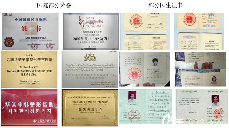 昆明华美美莱医院部分荣誉和部分医生证书