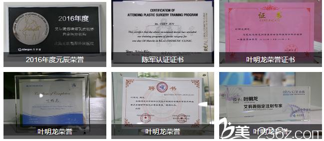 惠州元辰医疗美容整形医院荣誉证书