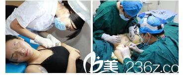 南京康美张让虎医生做自体脂肪丰胸手术中
