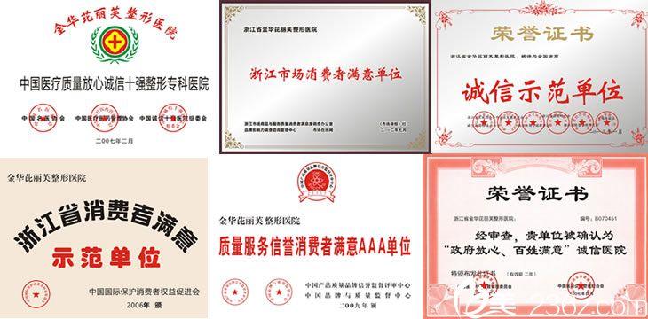 金华芘丽芙整形医院荣誉证书