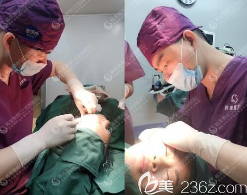 北海韩美整形医生在给我做面部埋线手术中