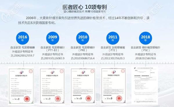 武汉大麦微针部分研究证书