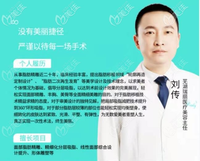 擅长自脂脂肪移植的芜湖瑞丽刘传主任
